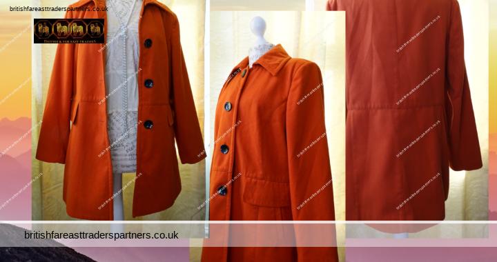 WARDROBE ESSENTIALS Ladies' Women's Deep Orange UK 16 EU 44 US 12 Autumn Winter Coat VGC