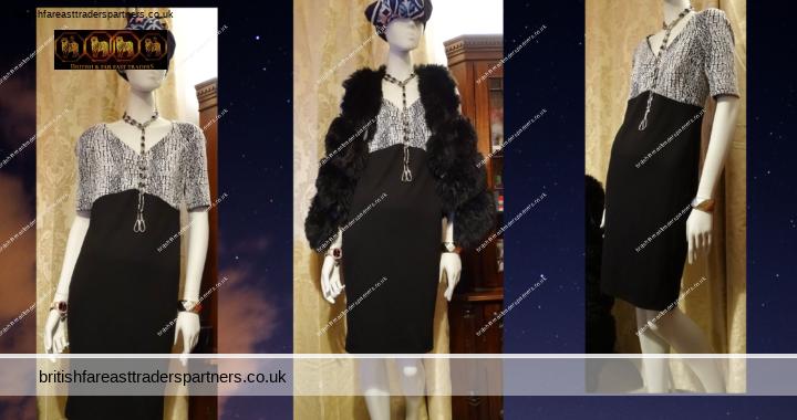 GEORGE Black & Faux Animal Print V- Neck Short Sleeved Empire Waist 2-Tone Shift Dress UK 12 EURO 40 VGC
