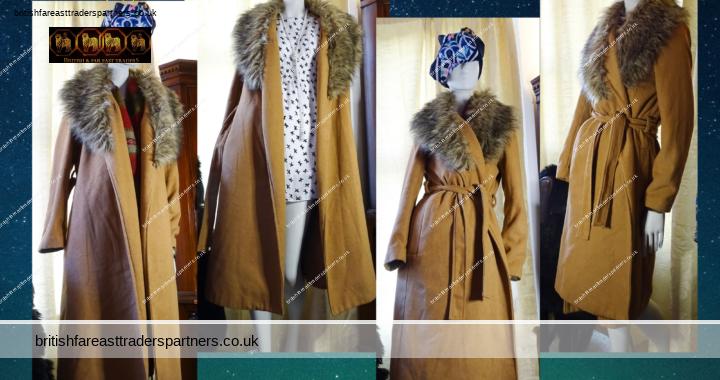NEW LOOK Ladies' Women's Camel Brown Maxi TRENCH Coat Detachable Faux Fur Collar UK 14 / EU 42 / USA 10 VGC