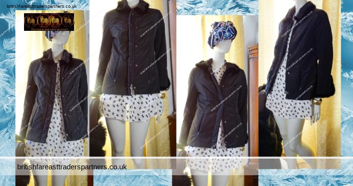 Women's Ladies' SAVAGE of RUSSIA Black Faux Fur Trim  Lightweight Coat Jacket Fits UK 10