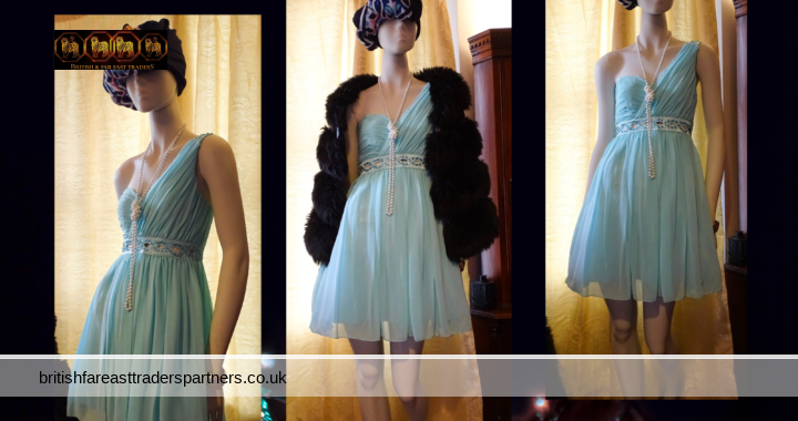 JANE NORMAN Turquoise / Aqua Grecian Cutout  PARTY COCKTAIL Dress UK 10 EURO 36 VGC