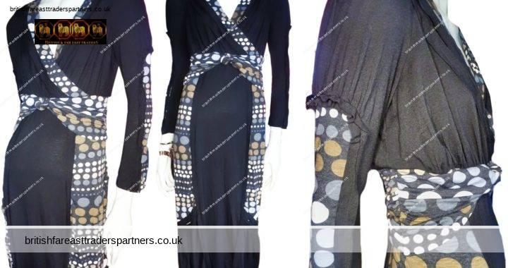 Ladies' Women's PER UNA Collezione ITALIA Long Sleeve Stretch Midi Dress POLKA DOT Details UK 10 NWT