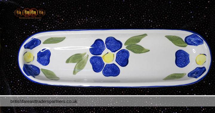 VINTAGE Handpainted Spongeware Long Starter Serving Platter Dish PRICE POTTERIES Kensington MADE IN ENGLAND