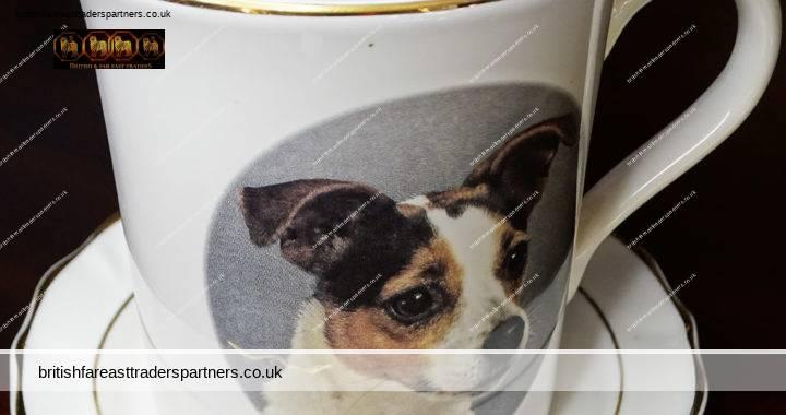VINTAGE FAITHFUL FRIENDS  CUTE Dog  Print Mug & Saucer  Sawley Fine Arts Ltd Lancashire England COLLECTABLE POTTERY ANIMALS