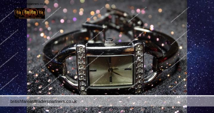 Ladies' Women's Marks And Spencer Rectangular Silver Tone Diamante Dress Watch Art Deco Vibe VGC