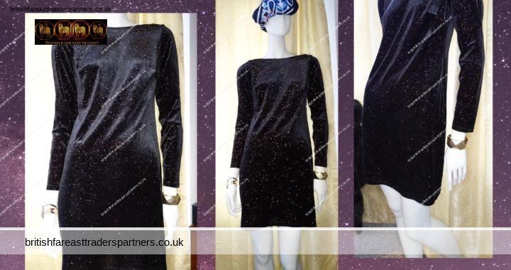 DOROTHY PERKINS BLACK Sparkly Stretch Velvety Cold Shoulder Long Sleeves Party/Cocktail Dress UK 10 VGC