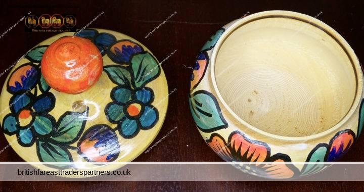 VINTAGE Wooden Hand Painted Florals Trinket Watch Jewellery Pot + Lid VGC