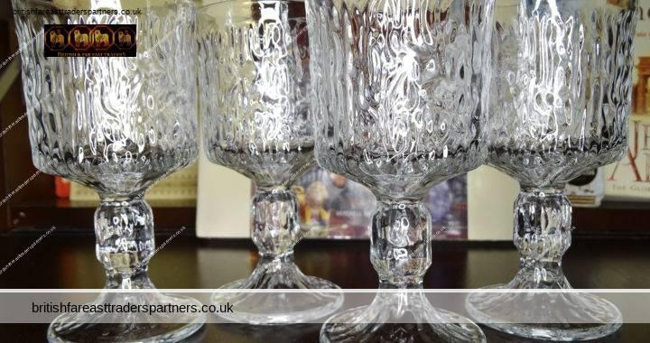 VINTAGE 60S 70s MIDCENTURY Lot of 4 Heavy Stem Ball Liqueur Sherry RAVENHEAD Drinks GLASS