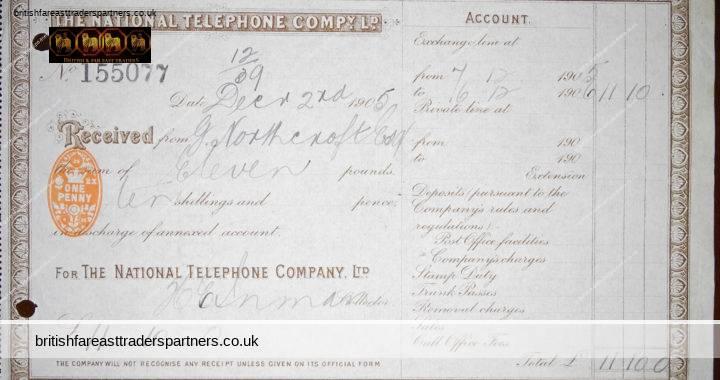 December 2nd 1905 G Northcroft Esq NATIONAL TELEPHONE COMPANY LTD No. 155077 Receipt