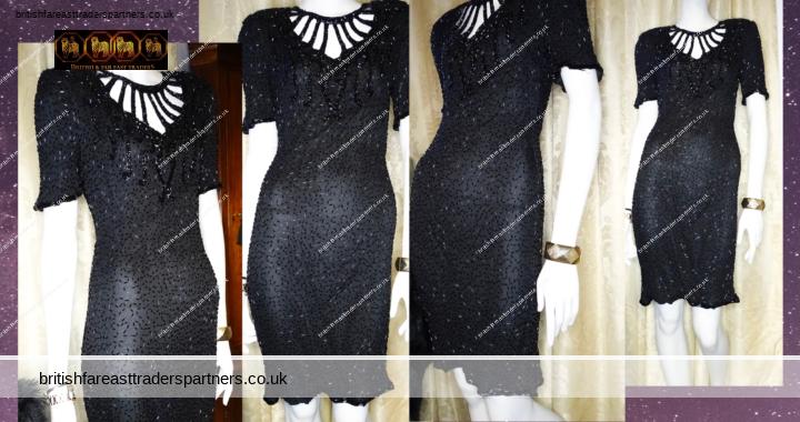 Great Gatsby VINTAGE 1980s LAURENCE KAZAR NEW YORK BLACK Beaded Evening Gala Formal Dress Medium