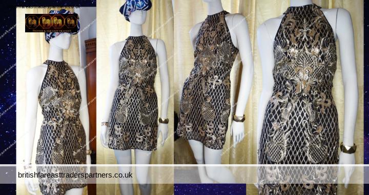 QUIZ Glam Black Gold Sequins Embroidered Party Cocktail Short Mini Dress UK 14 / EU 42 VGC