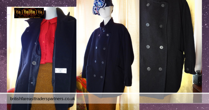 VINTAGE Ladies' Women's BLACK St Michael 100% Pure New Wool Double Breasted PEA Coat UK 14 Short Fit/ Petite