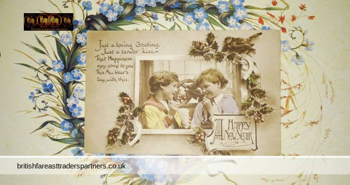 VINTAGE A HAPPY NEW YEAR Greetings POSTCARD British Boy & Girl Tender Photo VGC