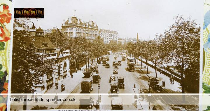 VINTAGE Thames Embankment Hotel Cecil LONDON VALENTINE'S Real Photo Post Card VGC
