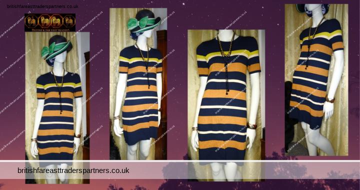 PAUL COSTELLOE LONDON BLACK LABEL Crew Neck Navy Brown Yellow Stripes Pullover Dress XS / UK 8 / EU 34