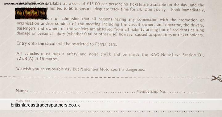 1992 FERRARI OWNER'S CLUB In Association With MARANELLO SALES LTD The HOME Of Ferrari Castle Combe Circuit Test Day Registration SHEET Estate EPHEMERA / PAPERALIA/ MOTORALIA