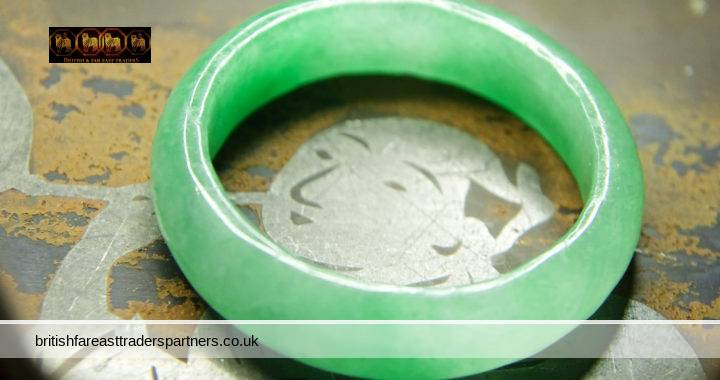 VINTAGE NATURAL Nephrite JADE Medium-Dark Transparent GREEN Medium POLISH Ring Band