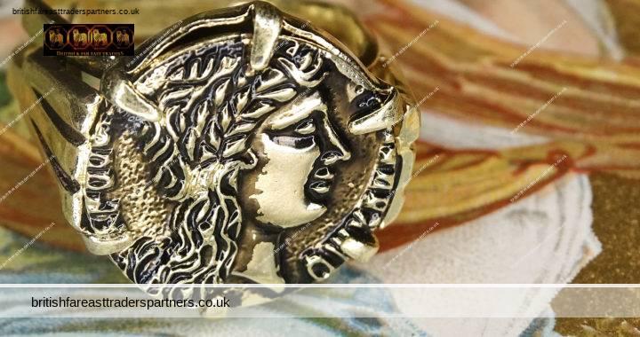 RARE VINTAGE GOLD Greek Goddess GAEA / Roman Goddess TERRA Mother Earth DEITY Eternal BEAUTY Adjustable ART DECO Claw Setting COIN RING