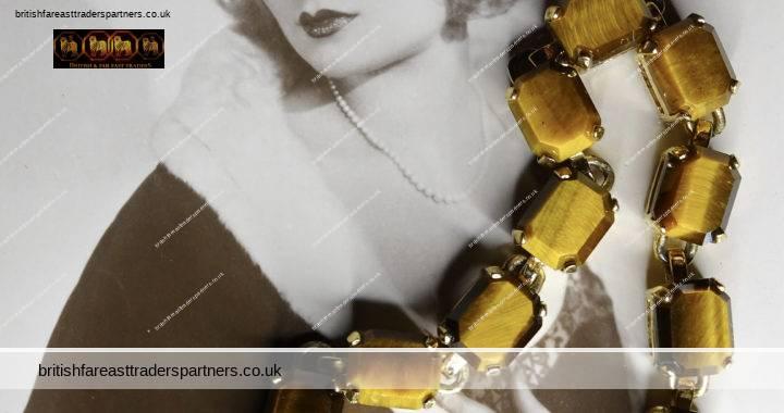 VINTAGE GOLD / GOLDEN TIGER'S EYE Healing Cleansing Comforting GOOD LUCK CHAKRA Links Bracelet