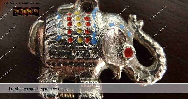 VINTAGE THAILAND Souvenir Silver LUCKY ELEPHANT Pendant Keyring Secret Pillbox Locket + Colourful Painted Accents