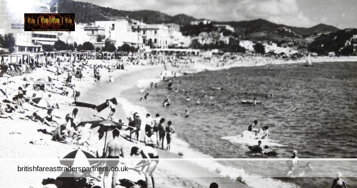 VINTAGE COSTA BRAVA Lloret De Mar SPAIN ESPANA Souvenir CONCERTINA 14 Black & White Photos Folding BOOKLET