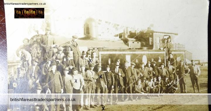 ANTIQUE South Australian Railway SAR STEAM ENGINE 168 Train Port Adelaide Fundraising for AUSTRALIAN SOLDIERS Gentlemen posing with STEAM TRAIN RAILWAYANA TRANSPORT SOCIAL HISTORY RPPC POSTCARD