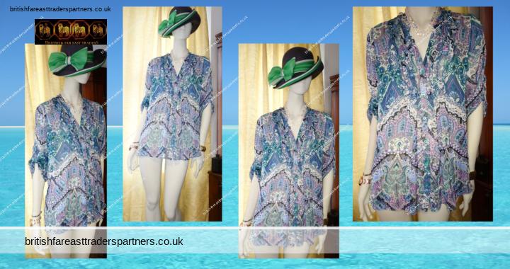 Ladies Women's WALLIS Petite Sea Green Silver Metallised Fibres Paisley Florals Ruffles Beach Pool Cover Up SUMMER Button Up Shirt