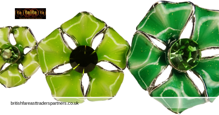 VINTAGE Shades of GREEN + Shimmer DOGWOOD Flowers ENAMEL + Rhinestones Costume Jewellery SILVER Signed TS PIN BROOCH FASHION | COSTUME JEWELLERY