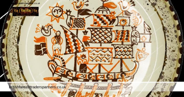 VINTAGE Handmade ENAMEL MOISSIADIS GREECE Sea Sailor Ship Art COLLECTABLES | MEMORABILIA | SOUVENIRS Trinkets Antipasti Folk Art Small Dish