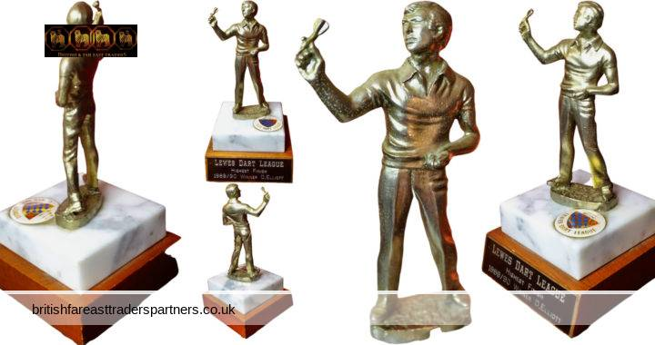 VINTAGE Men's LEWES Dart League  HIGHEST FINISH 1989/90  Winner Dougie ELLIOT Trophy COLLECTABLE  BRITISH SPORTS SUSSEX DARTS MEMORABILIA