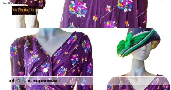 Ladies' Women's F&F DEEP DARK Plum / Purple / Aubergine Faux Wrap Knee Length FLORAL Tie Back Lightweight SPRING / SUMMER / FALL Dress 14