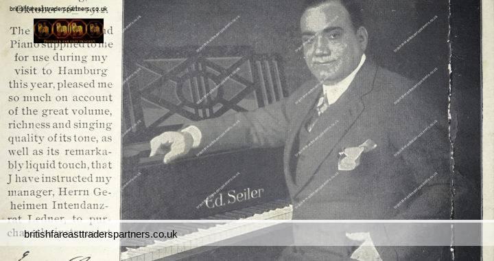 ANTIQUE 1912 Signor ENRICO CARUSO & His SEILER Grand Piano Palasthotel Hamburg GERMANY COLLECTABLE MUSICIANS PERSONALITIES POSTCARD