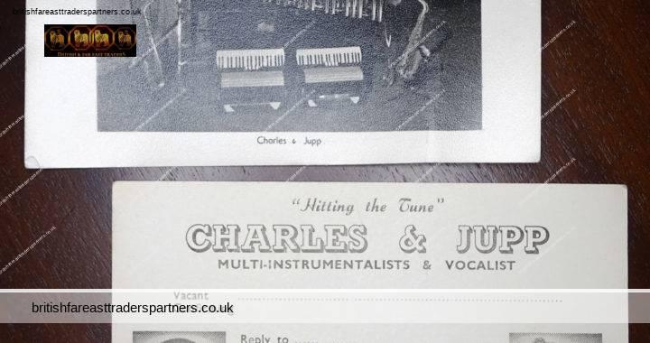 VINTAGE Lot x 2 CHARLES & JUPP Musicians Multi- Instrumentalists & Vocalist Lingfield SURREY ENGLAND Photo + Postcard