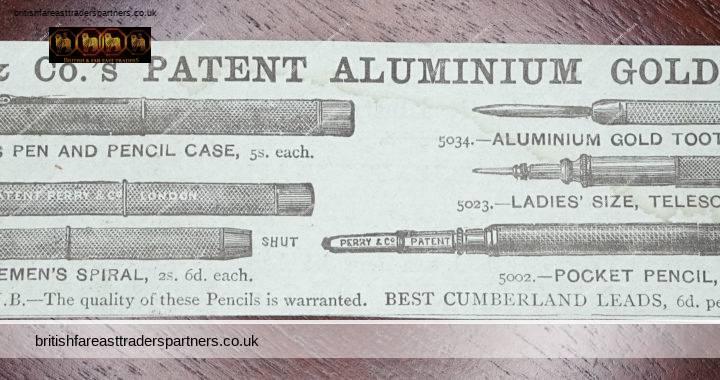 ANTIQUE VINTAGE PERRY & CO Patent Aluminum GOLD Pencils Collectable MAGAZINE ADVERTISEMENT Ephemera
