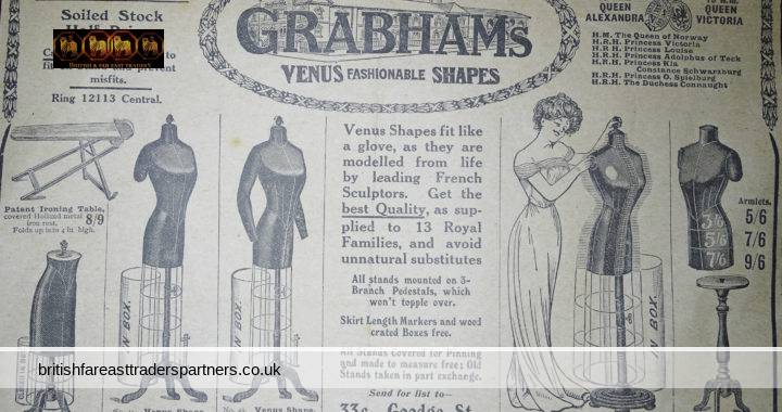 VINTAGE GRABHAMS London VENUS Fashionable Shapes PEDESTALS STANDS Newspaper FASHION Collectables EPHEMERA Advertisements