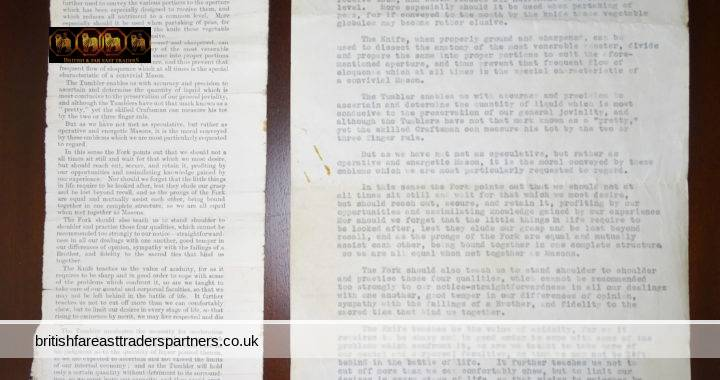 VINTAGE 11th AUGUST 1934 Lot of 2 The WORKING TOOLS of a Social Mason The FREEMASON Article + Typewritten Manuscript MASONIC COLLECTIBLES EPHEMERA