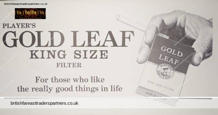 VINTAGE 1967 PLAYER'S GOLD LEAF King Size Filter CHANNEL AIRWAYS UK PASSENGER Ticket TOBACCIANA EPHEMERA COLLECTABLE Advert