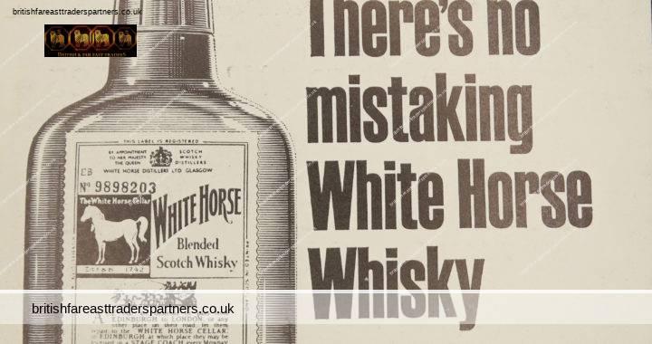 VINTAGE 1967 WHITE HORSE Blended SCOTCH Whisky WHITE HORSE DISTILLERS LTD. GLASGOW & LONDON CHANNEL AIRWAYS COLLECTABLE SPIRITS / DISTILLERY ADVERTISING EPHEMERA