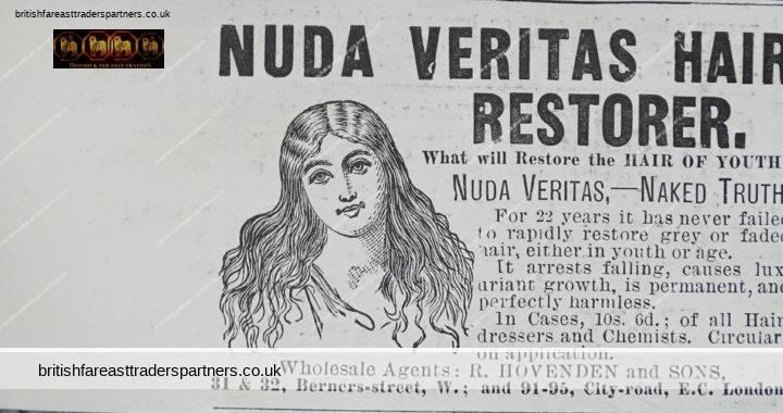ANTIQUE 15th JUNE 1889 NUDA VERITAS Hair Restorer Wholesale Agents: R. HOVENDEN & SONS VICTORIAN LONDON Illustrated London News ADVERTISEMENT COLLECTIBLES VICTORIANA EPHEMERA
