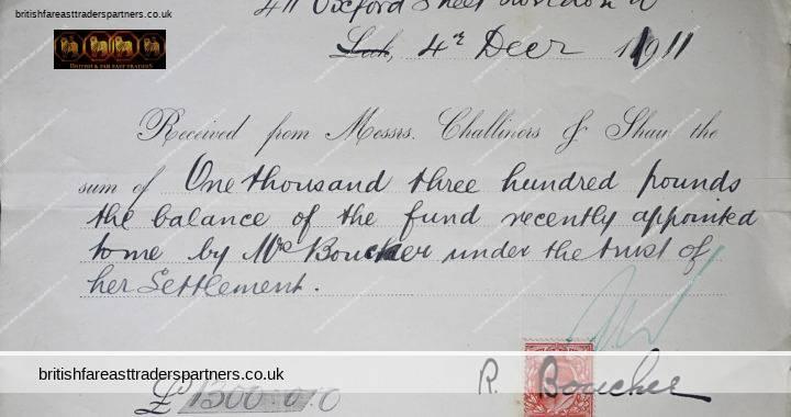 ANTIQUE 4th DECEMBER 1911 RECEIPT from CHALLINORS & SHAW Re Mrs. BOUCHER Trust of Settlement COLLECTIBLE EPHEMERA