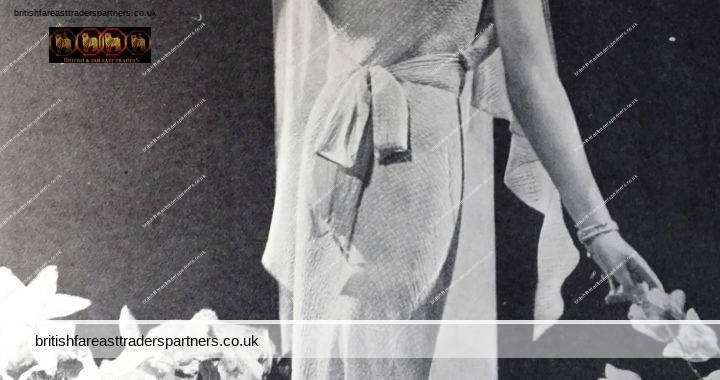VINTAGE 1935 Summer Evenings Gown DEBENHAM & FREEBODY London FASHION PRINT Ad COLLECTABLE EPHEMERA