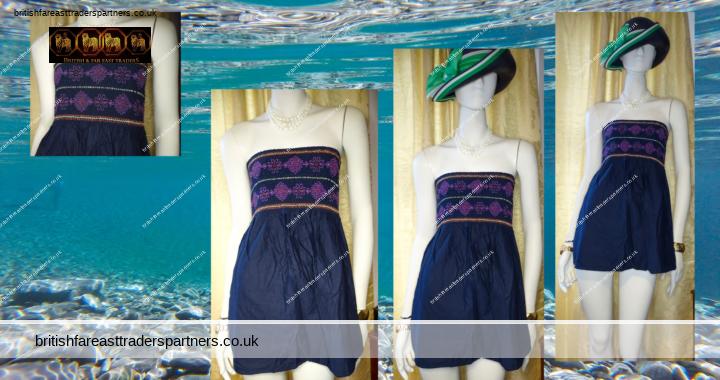 Ladies' Women's F&F NAVY BLUE Bandeau Stretch 100% COTTON SUMMER Tube TOP UK 14