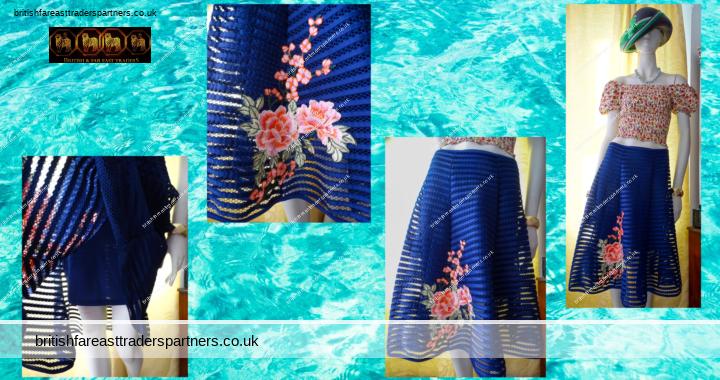 Ladies' Women's  QUIZ Blue Mesh Colourful Applique FLORALS A Line / Fit & Flare MIDI SPRING / SUMMER Lined SKIRT UK 10 / EU 38