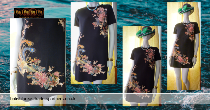Ladies' Women's ZARA W/B Collection BLACK Shift DRESS Colourful SPRING / SUMMER PHOENIX & FLORALS GOLDEN GLITTER Accents Raw Hem Relaxed Fit CLASSY & ELEGANT DRESS