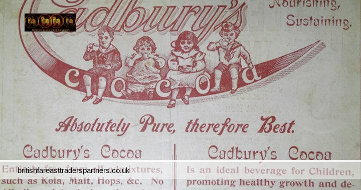 ANTIQUE 1899 CADBURY Cocoa: Absolutely PURE, therefore BEST REFRESHING, NOURISHING, SUSTAINING Wide World Magazine Advert COLLECTABLE ADVERTISING EPHEMERA