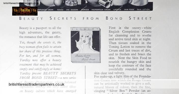 VINTAGE 11th MAY 1935 YARDLEY 33, OLD BOND STREET, LONDON BEAUTY SECRETS FROM BOND STREET COLLECTABLE BEAUTY / COSMETICS / SKIN CARE PRODUCTS LONDON Magazine / News ADVERTISING EPHEMERA