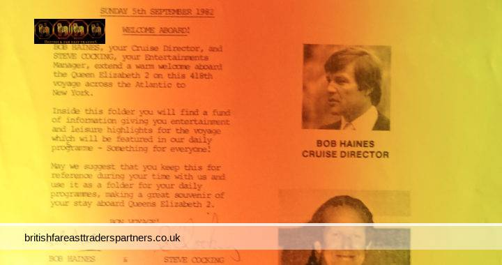 VINTAGE SUNDAY 5TH SEPTEMBER 1982 CUNARD RMS Queen Elizabeth 2 ENTERTAINMENT SHEET / PROGRAMME BOB HAINES: CRUISE DIRECTOR / STEVE COCKING: ENTERTAINMENTS MANAGER COLLECTABLE NAUTICAL CRUISE SHIP / TRAVEL / HOLIDAYS HISTORICAL MEMORABILIA /  SOUVENIR / EPHEMERA