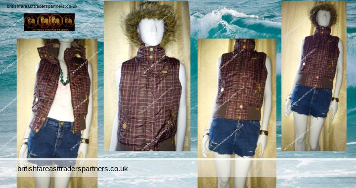 Ladies' Women's MCKENZIE Nineteen 70 Four BROWN PADDED Ribbed Waist Hooded Faux Fur GILET / BODYWARMER Sleeveless Jacket UK 10