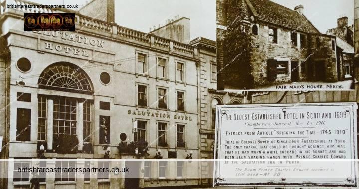 VINTAGE SALUTATION HOTEL PERTH, SCOTLAND OLDEST ESTABLISHED HOTEL IN SCOTLAND (1699) POSTCARD COLLECTABLE HISTORICAL SOCIAL HISTORY TOPOGRAPHICAL