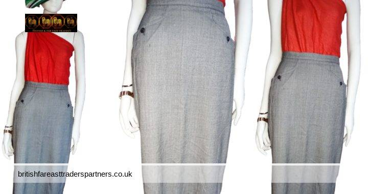 VINTAGE ST MICHAEL PURE NEW WOOL 100% WOOL GREY Standard Length  MIDI Pencil SKIRT UK 12 WOMEN'S CLOTHING | FASHION | SKIRT